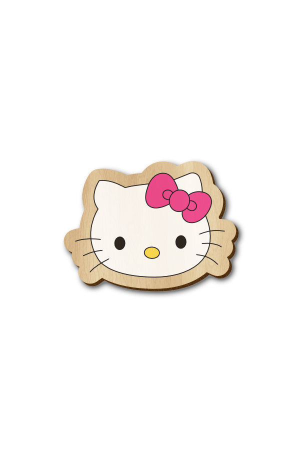 Hello Kitty - Hand Painted Wooden Lapel Pin