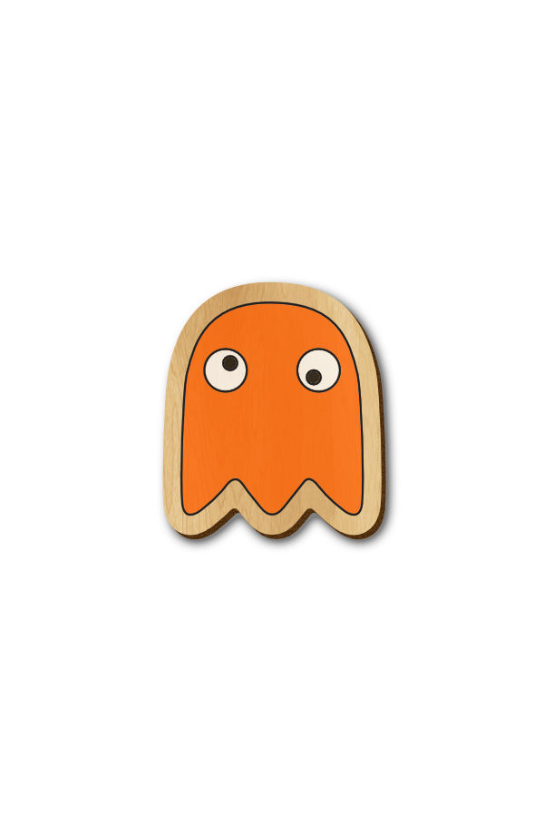 Pacman enemy Orange - Hand Painted Wooden Lapel Pin