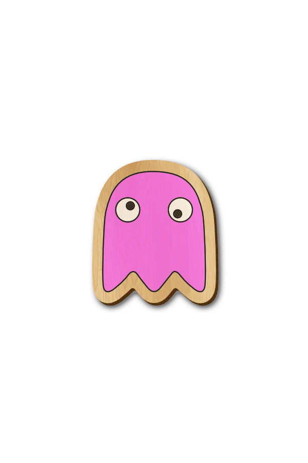 Pacman enemy Pink - Hand Painted Wooden Lapel Pin