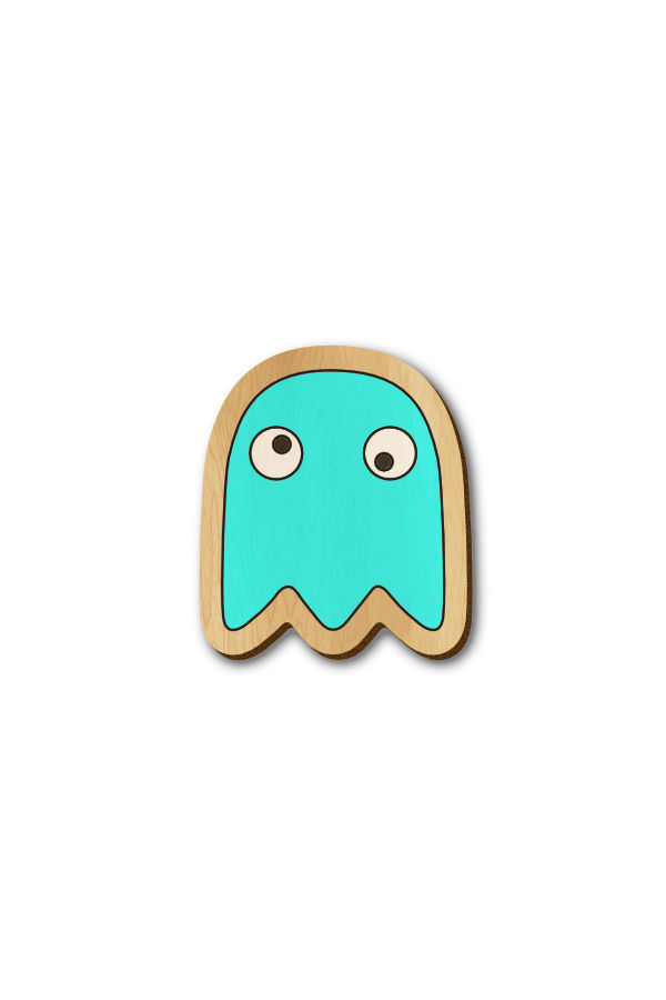 Pacman enemy Blue - Hand Painted Wooden Lapel Pin