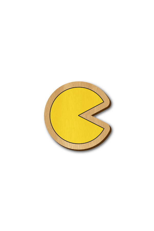 Pacman - Hand Painted Wooden Lapel Pin